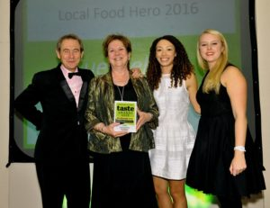 021116 Winner of the Local Food Hero at the deliciouslyorkshire and Yorkshire Post Taste Awards at the Pavilions in Harrogate, in association with River Street Events , Sue Nelson Yorkshire Food Finder.